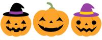 ハロウィンかぼちゃのイラスト 魔女 ジャックオーランタン