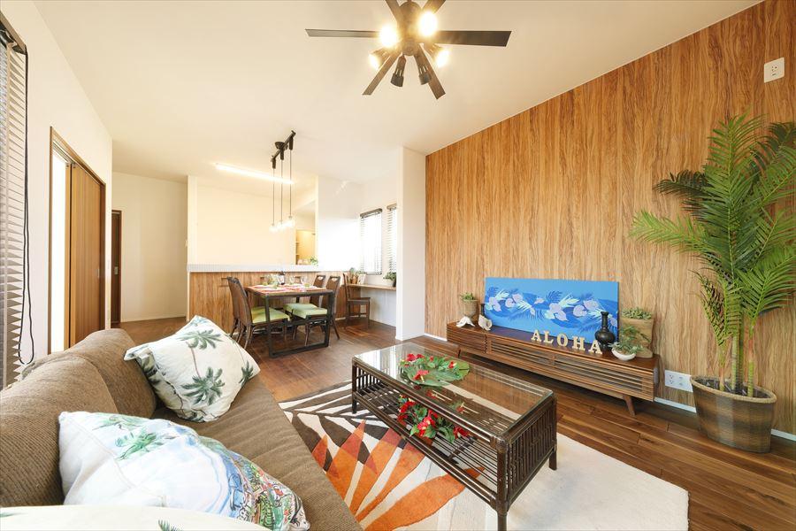 ポラスの分譲住宅「パレットコート柏たなか エヴァーシティ」モデルハウス16-81号棟/リビング